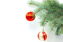 Fir-tree branch with christmas decorations Royalty Free Stock Photo