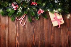 Fir tree branch with christmas lights Stock Photo