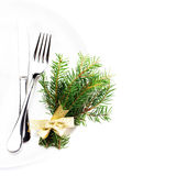 Fir Tree Branch and Christmas table place setting with christma Stock Images