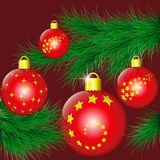 Fir-tree branch decorated with Christmas balls. Fir-tree branch decorated with red christmas balls. Vector illustration EPS10 Royalty Free Stock Images