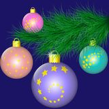 Fir-tree branch decorated with Christmas balls. Vector illustration EPS10 Royalty Free Stock Photography