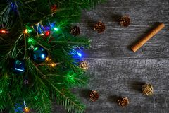 Fir-tree branch decorated for Christmas and New Year next to cinnamon sticks, pine cones and golden balls royalty free stock photo