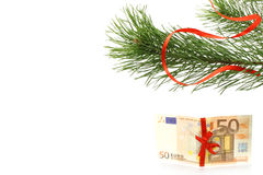 Fir tree branch with money present Royalty Free Stock Photography