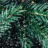 Fir tree branch with snowflakes as background close up. Christma Stock Photos