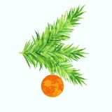 Fir tree branch with toy. And paint imitation overlay Stock Photos