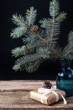 Fir tree branch in the vase with present Stock Photos