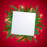 Fir tree branch with white card background. Christmas greetings design Stock Photos