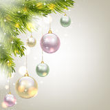 Fir-tree branches and baubles. Christmas card with fir-tree branches and baubles Royalty Free Stock Images