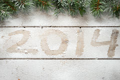 Fir tree branches and 2014 Stock Images