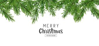 Fir Tree Branches Christmas Layout Decorations stock illustration