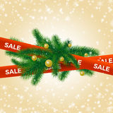 Fir-tree branches Christmas Winter Sale. Fir-tree branches with Christmas balls on red ribbon, Winter Sale background  illustration. Sell-out, advertisement Stock Photography