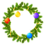 Fir tree branches Christmas wreath with colored. Fir tree branches vector Christmas wreath with colored balls and golden ribbon Stock Photography