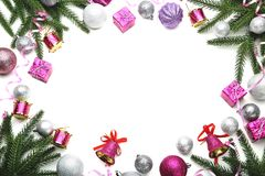 Fir-tree branches with decorations Royalty Free Stock Photos