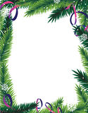 Fir tree branches frame. Fir tree branches and tinsel on a white background. Abstract Christmas frame Stock Photos