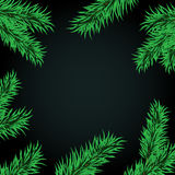 Fir tree branches frame dark large. Christmas green framework. New Year fir frame with space for text vector illustration. Christmas background fir tree branches Stock Photo