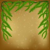 Fir tree branches frame. Happy New Year background. Merry Christmas and Happy New Year  greeting card with Chrirstmas decor fir twigs. Gold and green christmas Stock Photos