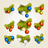 Fir-tree branches with New Year's balls Royalty Free Stock Image