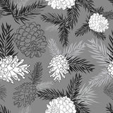 Fir tree branches with pine cone seamless background on gray. Fir tree branches with pine cone seamless background Black and white silhouette on gray background Stock Photos