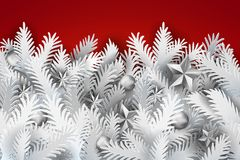 Fir tree branches red banner. Realistic white paper art cut out pine, fir, spruce Christmas tree branches decorated balls and stars on red background. Vintage Royalty Free Stock Image