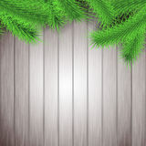 Fir tree branches rustic Christmas layout. Vector illustration Royalty Free Stock Photos