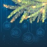 Fir tree branches and shining Christmas balls royalty free illustration