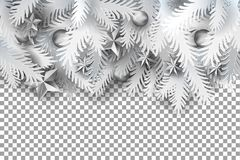 Fir tree branches on transparent. Realistic white paper art cut out pine, fir, spruce Christmas tree branches decorated balls and stars on on transparent Stock Images