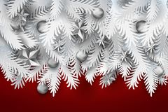Fir tree branches with xmas decor on red. Realistic white paper art cut out pine, fir, spruce Christmas tree branches decorated balls and stars on red background Stock Images