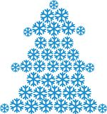 Fir tree built of snowflakes. Vector Royalty Free Stock Image