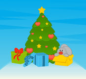 Fir-tree with bunny and boxes Stock Images