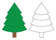 Fir tree cartoon. Coloring page for children. Vector illustration Stock Photography