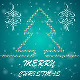Fir-tree Christmas background. Bright holiday background with many lights and text Stock Image