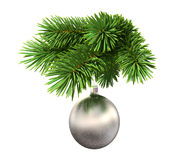 Fir tree with a christmas ball. Isolated on white background Royalty Free Stock Photography