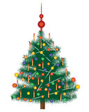 Fir-tree. Christmas tree with Christmas toys on a white background Stock Images