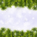 Fir-tree Christmas Decoration. Winter holiday christmas greeting decoration with snow fir-tree and blurry lights Stock Photo