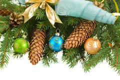 Fir tree with  christmas decorations and cones Stock Photo