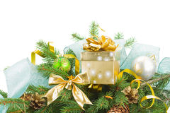 Fir tree and  christmas decorations with gift box Royalty Free Stock Photography