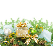 Fir tree and  christmas decorations with gift box Stock Photos