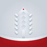 Fir-Tree. Christmas Greeting Card. White paper tree with a star on top and red ram for text Stock Images