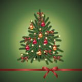 Fir tree. Christmas fir tree with red and gold balls and red bows,EPS10 Stock Photos