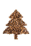 Fir-tree from coffee beans isolated on white Stock Photo