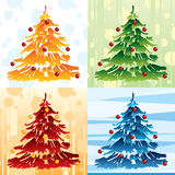 Fir tree colour pattern. Firtree illustration in four colours pattern Stock Images