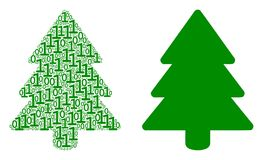 Fir-Tree Mosaic of Binary Digits. Fir-tree composition icon of zero and one symbols in variable sizes. Vector digit symbols are arranged into fir-tree Stock Photography