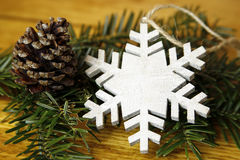 Fir tree with cones and snowflake Stock Photo