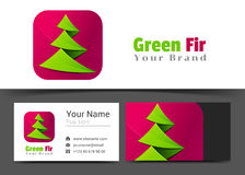 Fir Tree Corporate Logo and Business Card Sign Template. Creative Design with Colorful Logotype Visual Identity Composition Made of Multicolored Element Royalty Free Stock Photo