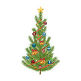Fir tree. Decorated Christmas tree. Isolated vector illustration on background Royalty Free Stock Photo
