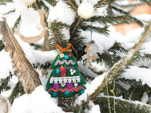 Fir-tree is decorated by Christmas toys. Fir toy and angel. Stock Image