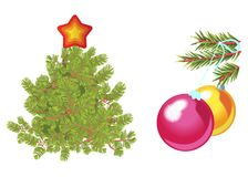 Fir tree decorated with star and green spruce branch with toy balls. Isolated on white  illustration. Fir tree decorated with star and green spruce branch with Stock Image
