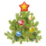 Fir tree decorated with toy balls and star. Isolated on white  illustration.  Royalty Free Stock Image