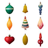 2017 fir-tree decoration baubles and bokeh ornament. New year and merry christmas or xmas glassware tree heart and bell Stock Photos