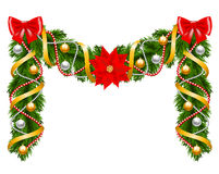 Fir-tree decoration with poinsettia Stock Image